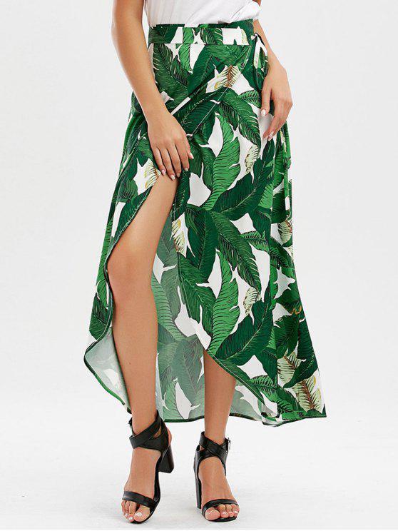 Falda tropical de la impresión de la hoja - Verde L