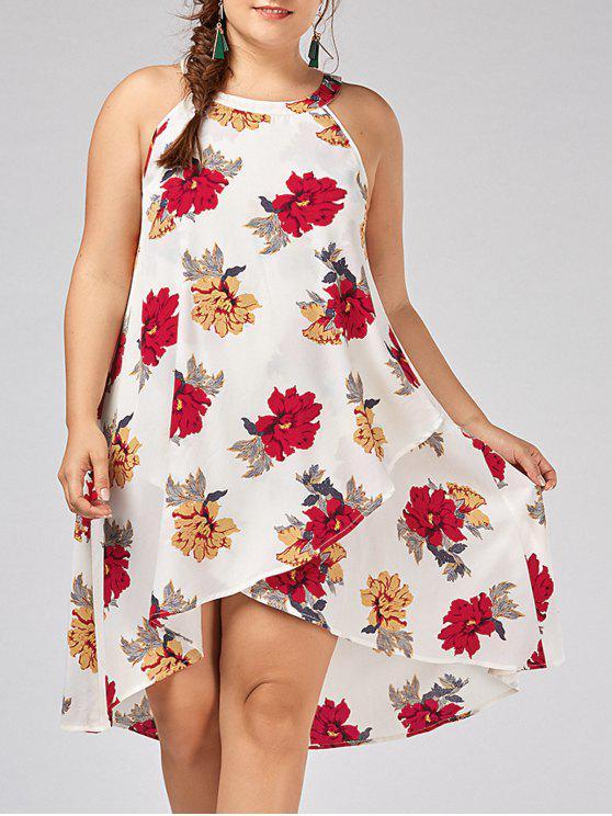 Vestido de talla superlativa floral de talla grande - Blanco 4XL