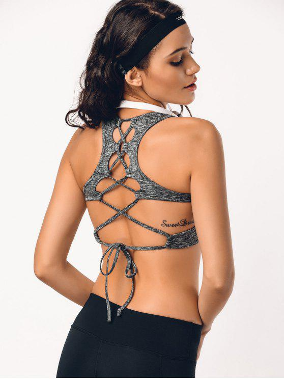 outfits Back Lace Up Space Dyed Sporty Bra - GRAY M