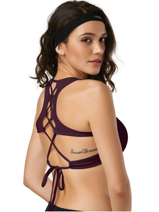chic Cut Out Back Lace Up Padded Sporty Bra - BURGUNDY L