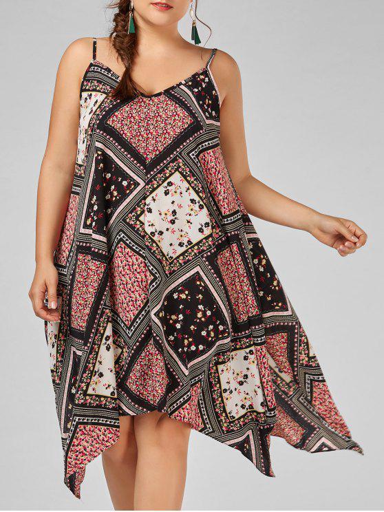 0910964caba3 affordable Tiny Floral Chiffon Plus Size Slip Handkerchief Dress - COLORMIX  2XL
