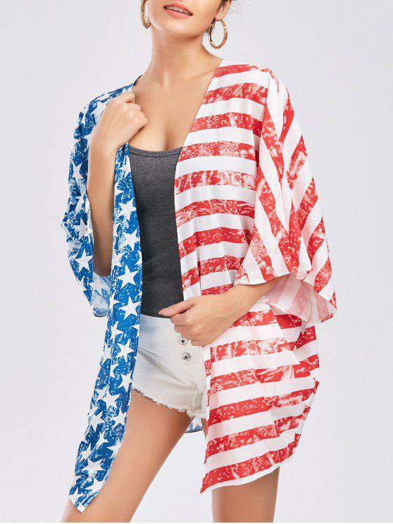 وطني، العلم الأمريكي، طباعة، كيمونو - أحمر مقاس واحد