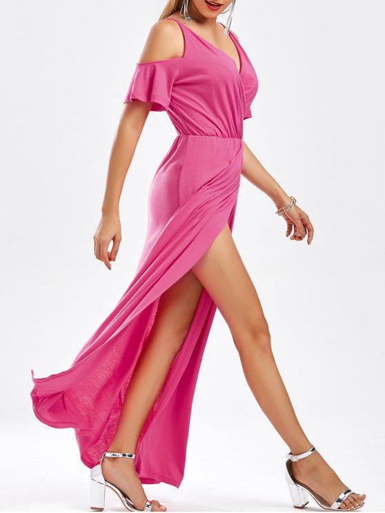 طابق الطول الشق باردة الكتف V فستان الرقبة - وردة حمراء XL