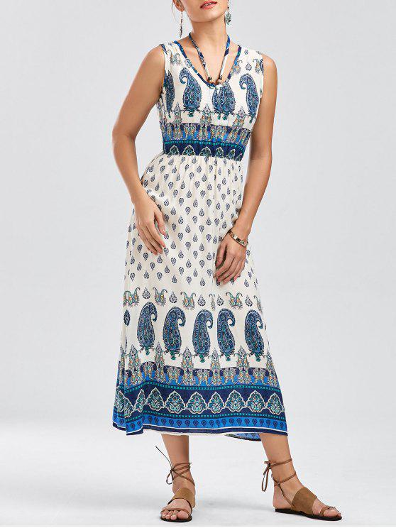 فستان بوهيمي طباعة قبلية كهنوتي بلا أكمام - مزيج ملون L