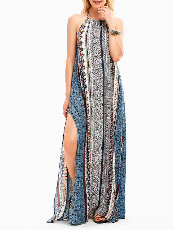 فستان بوهيمي عالية انقسام رسن عارية الظهر ماكسي - مزيج ملون L