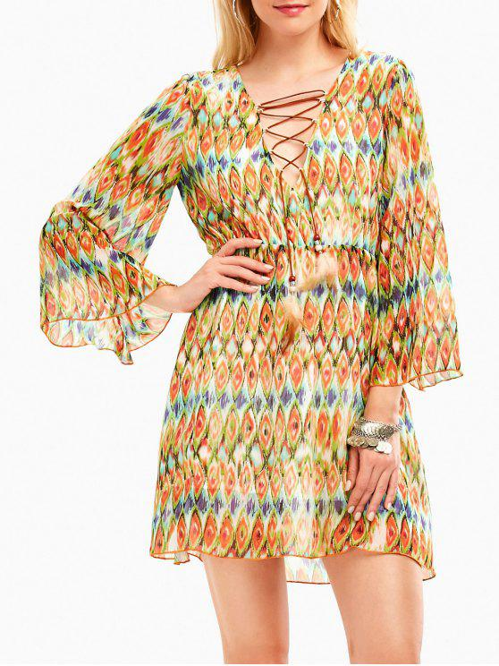 فستان بوهيمي شيفون طباعة الأفعى غارق خط الرقبة - أصفر فاتح M