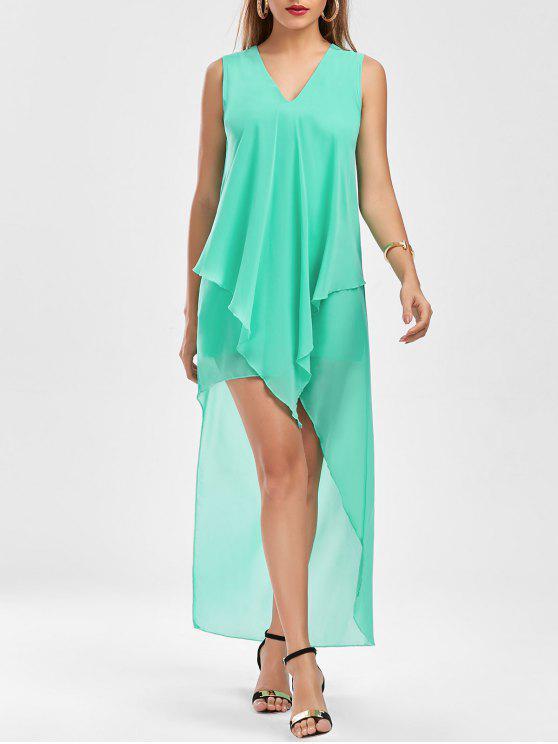 فستان شيفون بلا أكمام عالية انخفاض - أخضر M