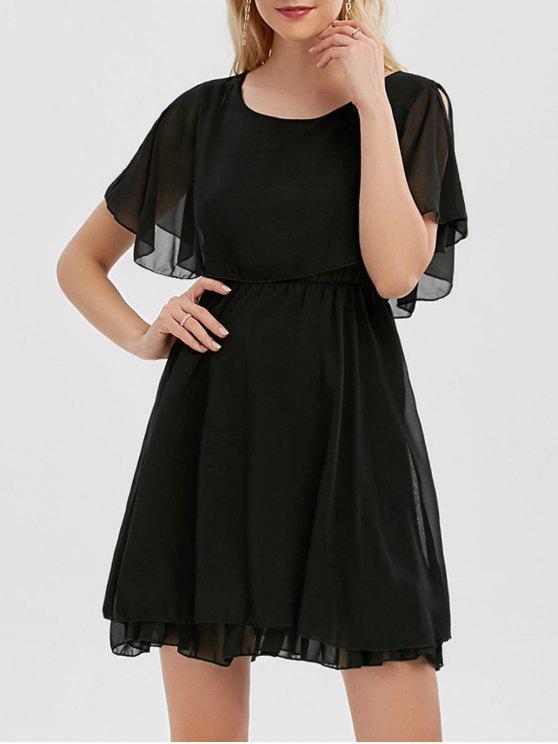 فستان الصيف شيفون باردة الكتف مصغر - أسود XL