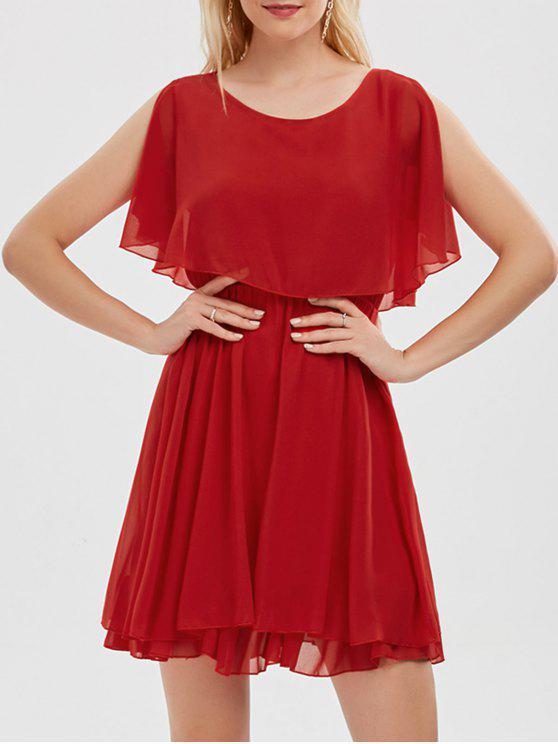 فستان الصيف شيفون باردة الكتف مصغر - أحمر S
