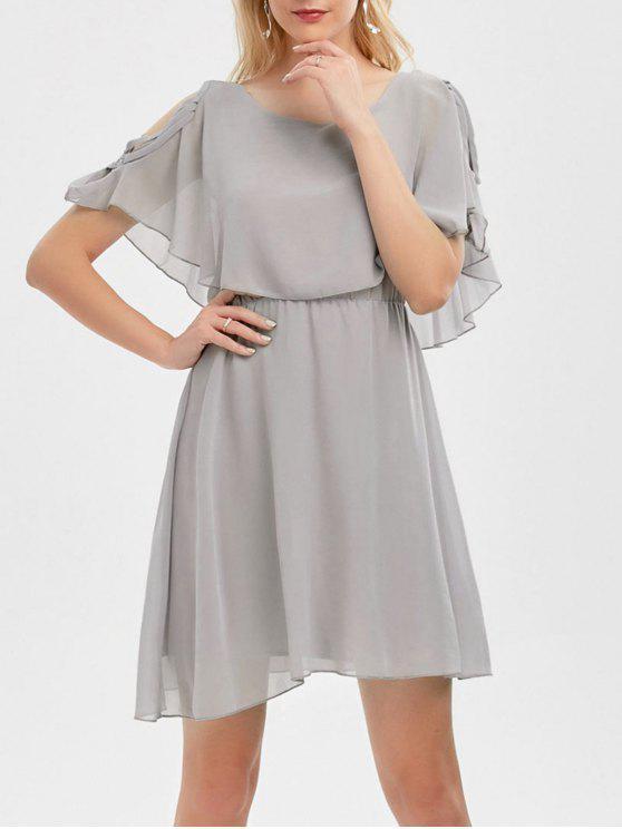 فستان كشكش شيفون باردة الكتف - اللون الرمادي 2XL