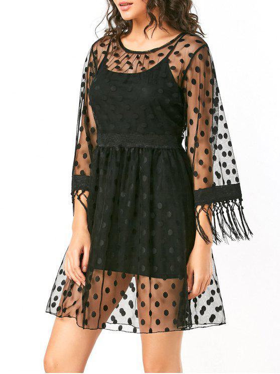 فستان دانتيل شير عالية الخصر البولكا نقطة - أسود XL