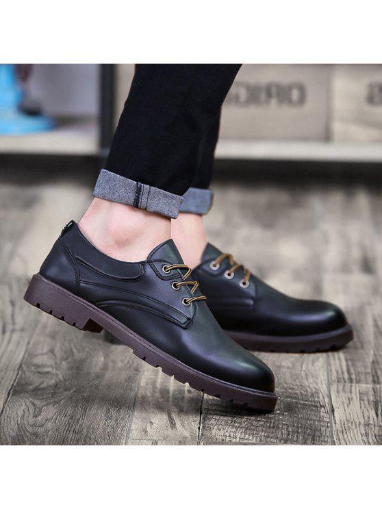 أحذية مريحة بجلد اصطناعي دائرة اصبع القدم - أسود 40