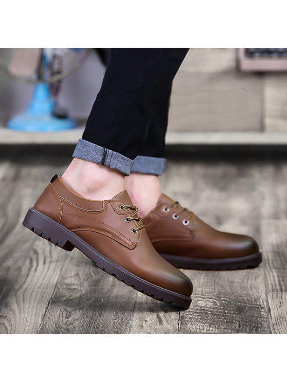 أحذية مريحة بجلد اصطناعي دائرة اصبع القدم - BROWN 40
