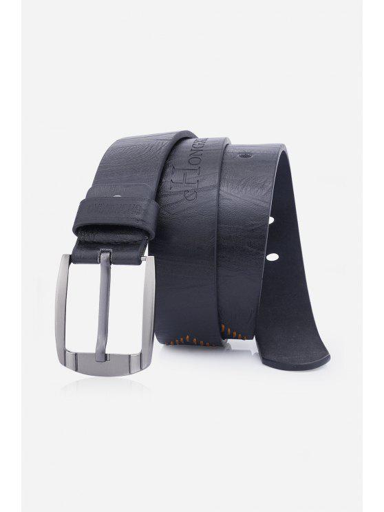 الثقوب التطريز دبوس مشبك فو الجلود حزام - أسود