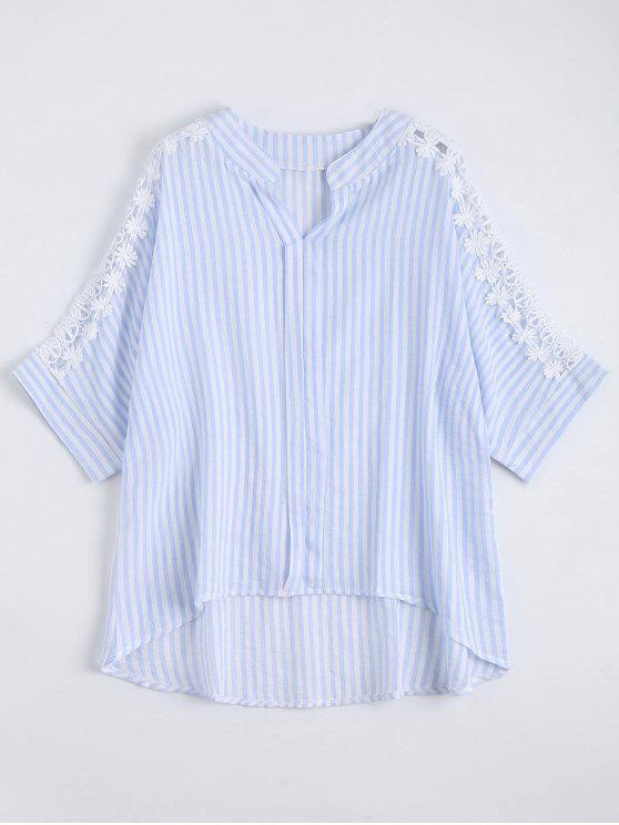 e99cd40c1c 24% OFF] 2019 Plus Size Notched Lace Panel High Low Stripe Shirt In ...