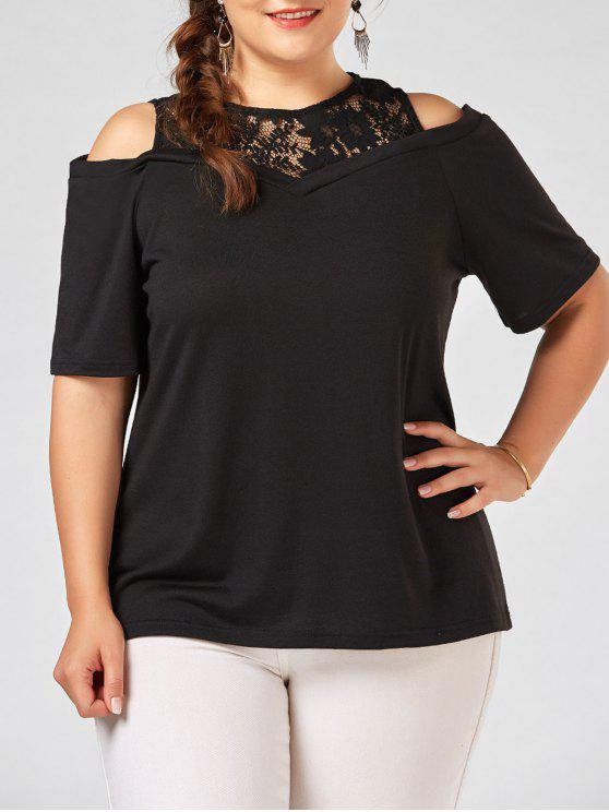 b7a6965b3f0 60% OFF  2019 Plus Size Lace Panel Long Open Shoulder T-shirt In ...