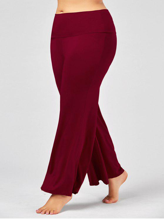 fancy Plus Size High Rise Maxi Palazzo Pants - DEEP RED 2XL