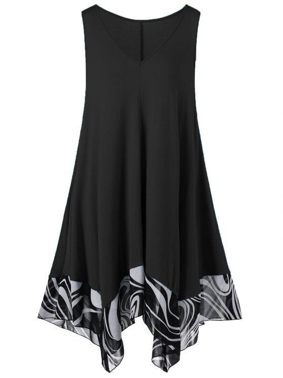 زائد الحجم منديل اللباس مصغرة - أسود 4XL