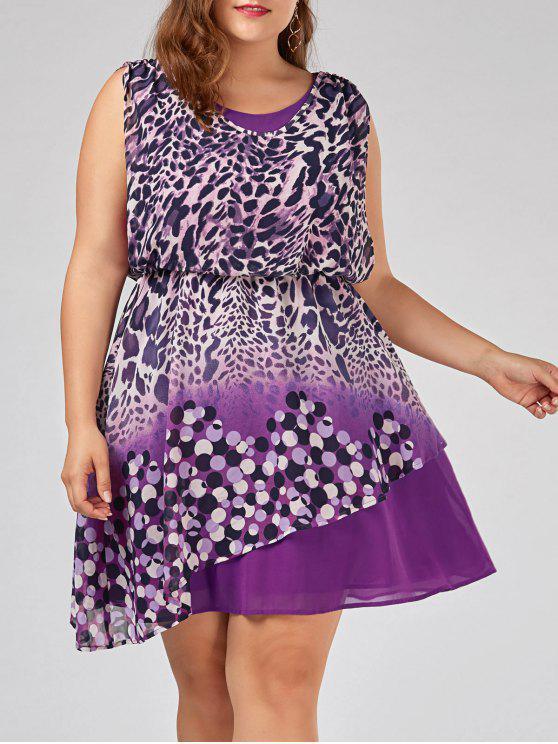 Plus Size Sleeveless Leopard Print Dress Colormix Plus Size Dresses
