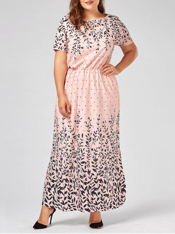 Plus Size Olive Branch Printed Maxi Evening Modest Dress PINK RED YELLOW