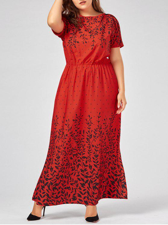 Plus Size Olive Branch Printed Maxi Evening Modest Dress LAKE BLUE PINK RED  YELLOW