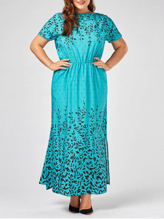28% OFF] 2019 Plus Size Olive Branch Printed Maxi Evening Modest ...