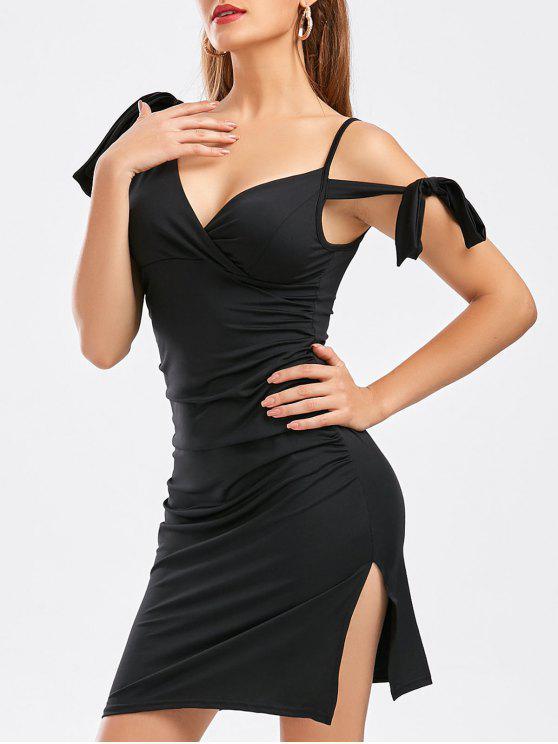 فستان انقسام ربطة ذاتية - أسود S