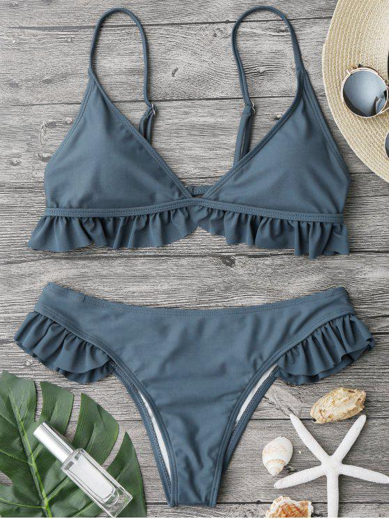 best Ruffle Padded Plunge Bikini Set - STONE BLUE L