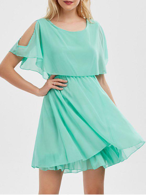 فستان الصيف شيفون باردة الكتف مصغر - اخضر فاتح XL