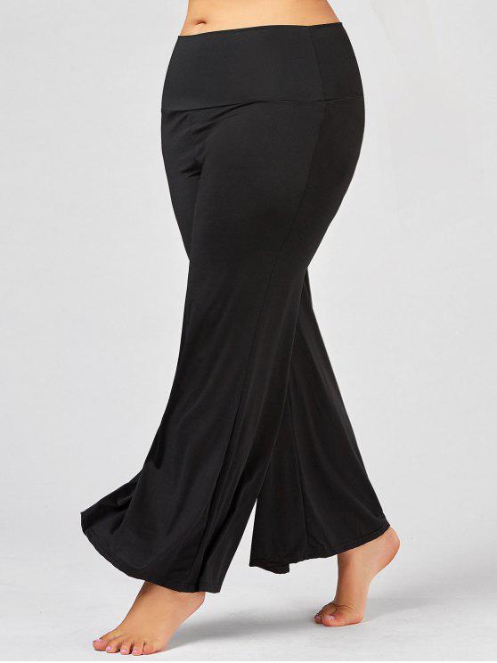 Maxi Pantaloni Larghi A Vita Alta Plus Size - Nero 3XL
