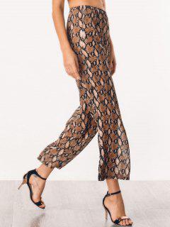 Chiffon Snake Graphic Wide Leg Pants - Brown L