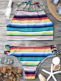 High Neck Multi Striped Strappy Bikini Set - Multicolor S