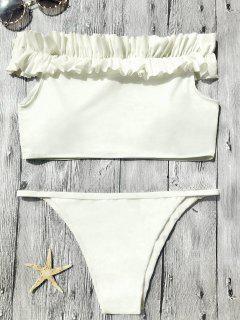 Off The Shoulder Frilled Bikini Set - Off-white M