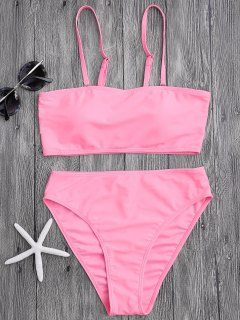 Gepolsterter High Cut Bandeau Bikini Set - Pink M