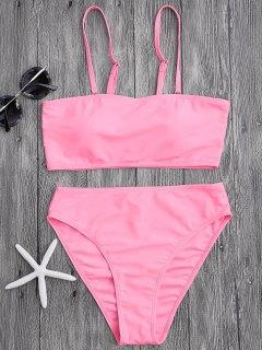 Padded High Cut Bandeau Bikini Set - Pink S