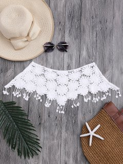 Tassels Tube Crochet Cover Up Top - White