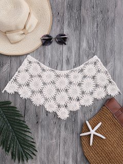 Tube Sun Flower Crochet Cover Up Top - Blanc Cassé