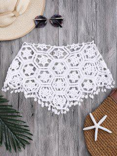 Tube Laser Cut Crochet Cover Up Top - White