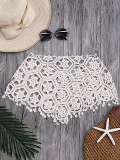 Tube Laser Cut Crochet Cover Up Top - Off-white