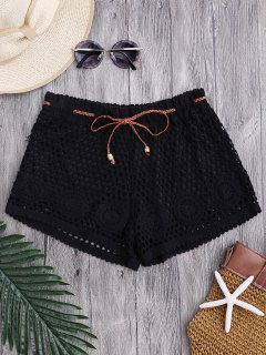 Laser Cut Drawstring Crochet Cover Up Shorts - Black