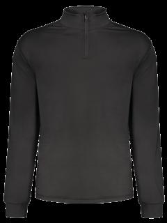 Stand Collar Long Sleeve Half Zip Top - Black M