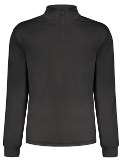 Stand Collar Long Sleeve Half Zip Top - Black L