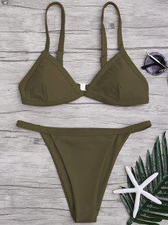 Solid Color Spaghetti Straps Low Waisted Bikini Set - Army Green M
