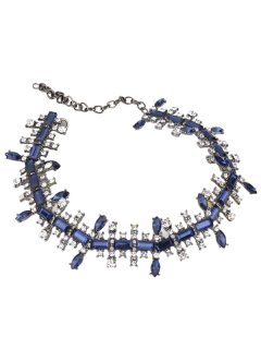 Alloy Faux Gemstone Geometric Necklace - Blue