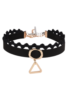 Faux Suede Oval Triangle Choker Necklace - Black
