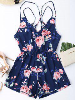 Criss Cross Cami Floral Romper - Purplish Blue M