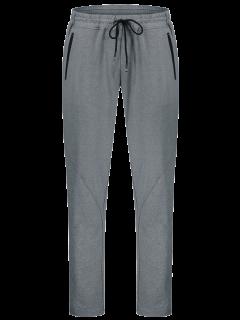 Drawstring Sweatpants With Zip Pocket - Gray M
