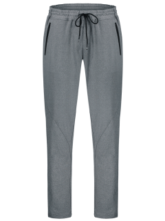 Drawstring Sweatpants With Zip Pocket - Gray L