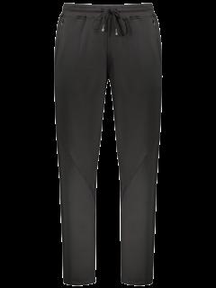 Zipper Pocket Drawstring Sweatpants - Black L