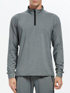Stand Collar Half Zip Heathered Top - Gray L